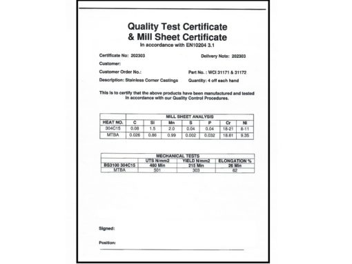 SS corner casting Quality and Mill certificate