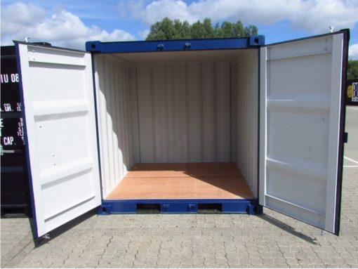 8' blå container med åbne døre