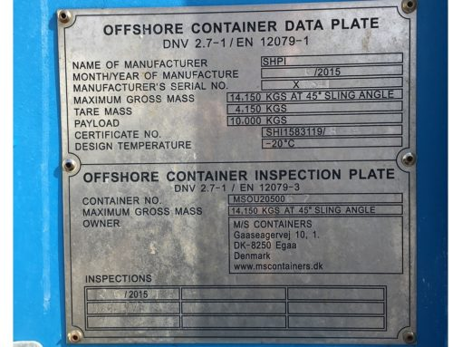205006-7 20' offshore container