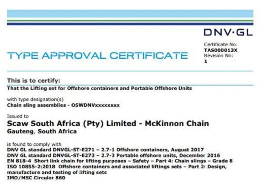 DNV GL McKinnon type approval