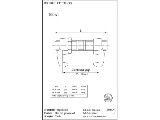 Bridge fittings 380 mm tegning