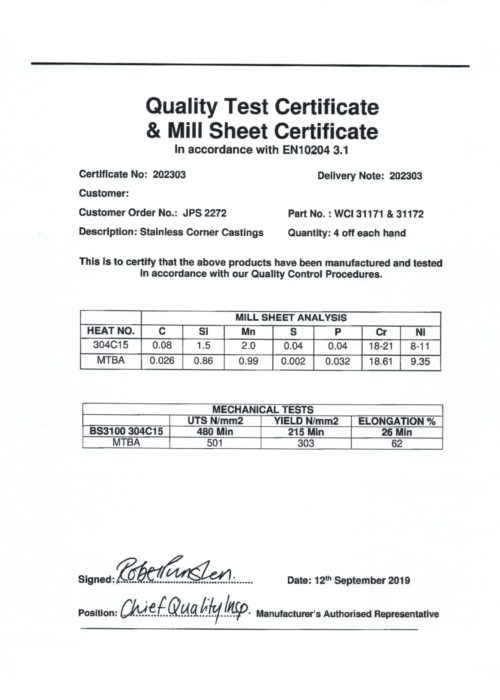 Certificate example rustfrit stål