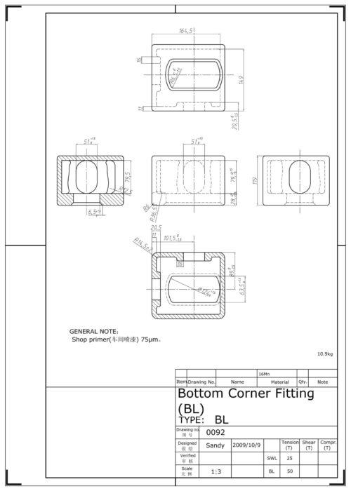 Corner casting BL - Tegning 1