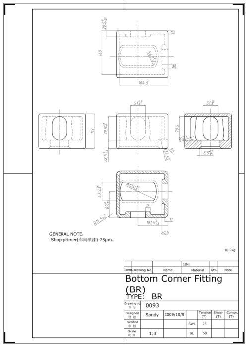 Corner casting BR - Tegning 1